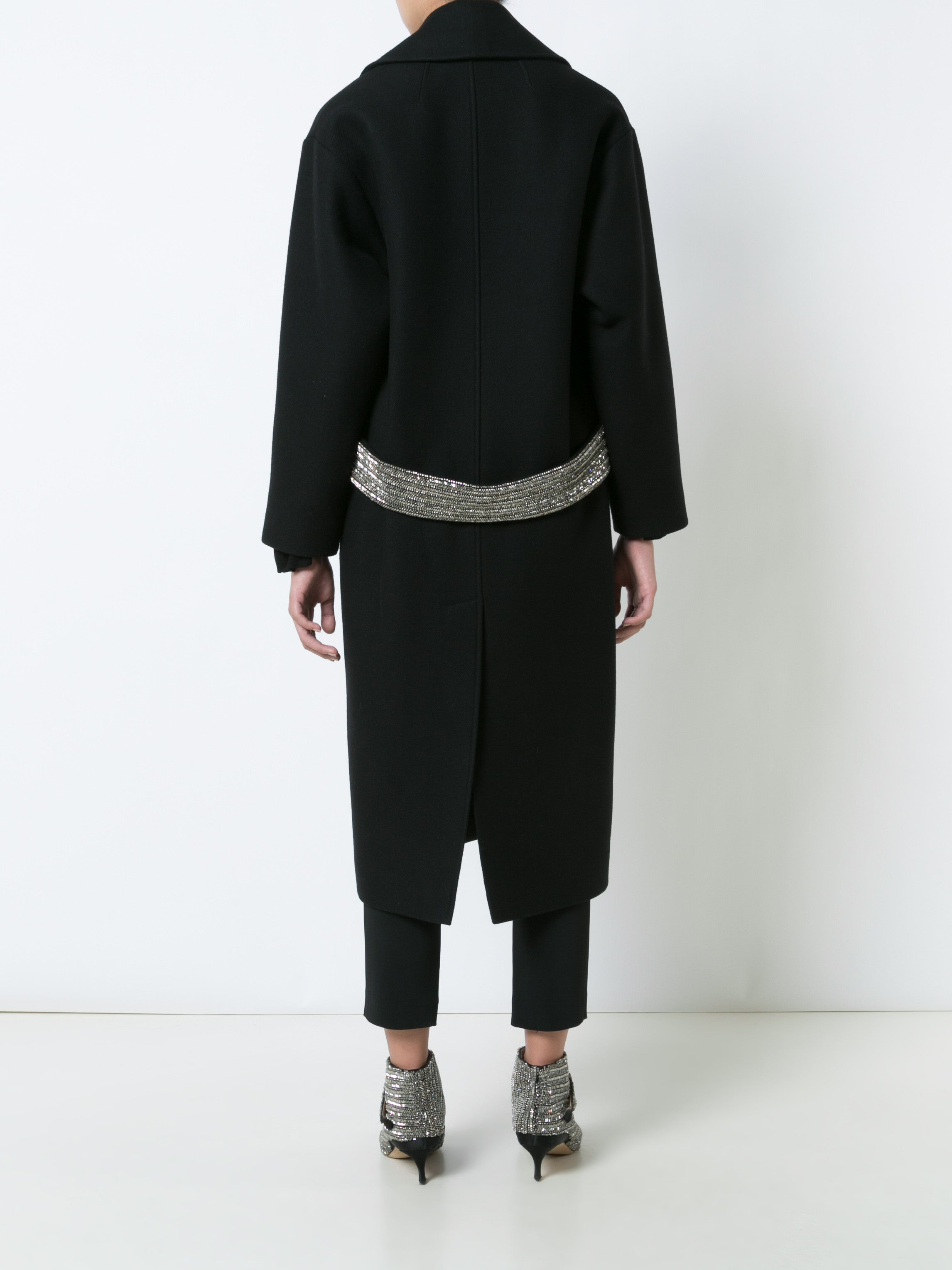 Felted Wool Cocoon Coat with Embellished Belt