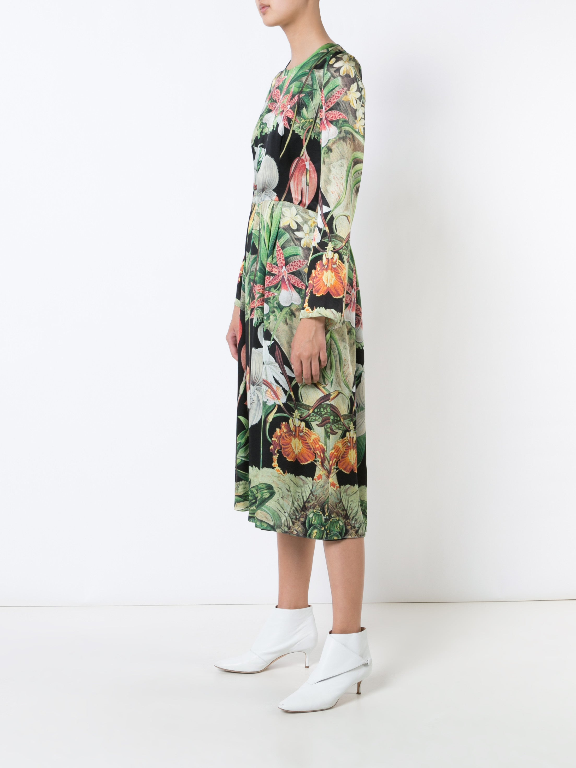 Orchid Printed Silk Long Sleeve Midi Dress