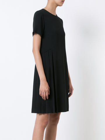 Stretch Cady Short Sleeve Dress with Side Pleats