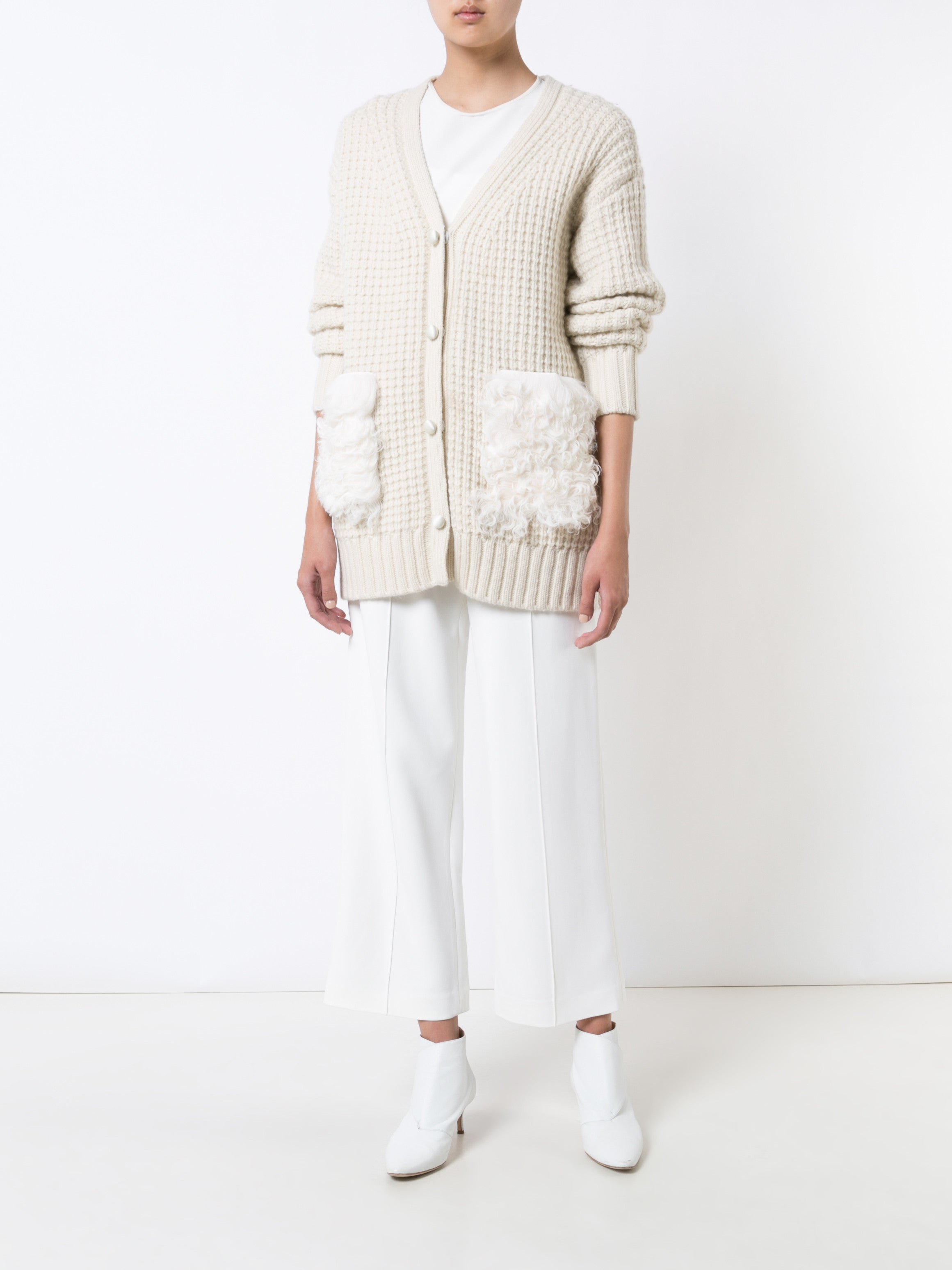 Wool Cashmere Cardigan with Shearling Pocket