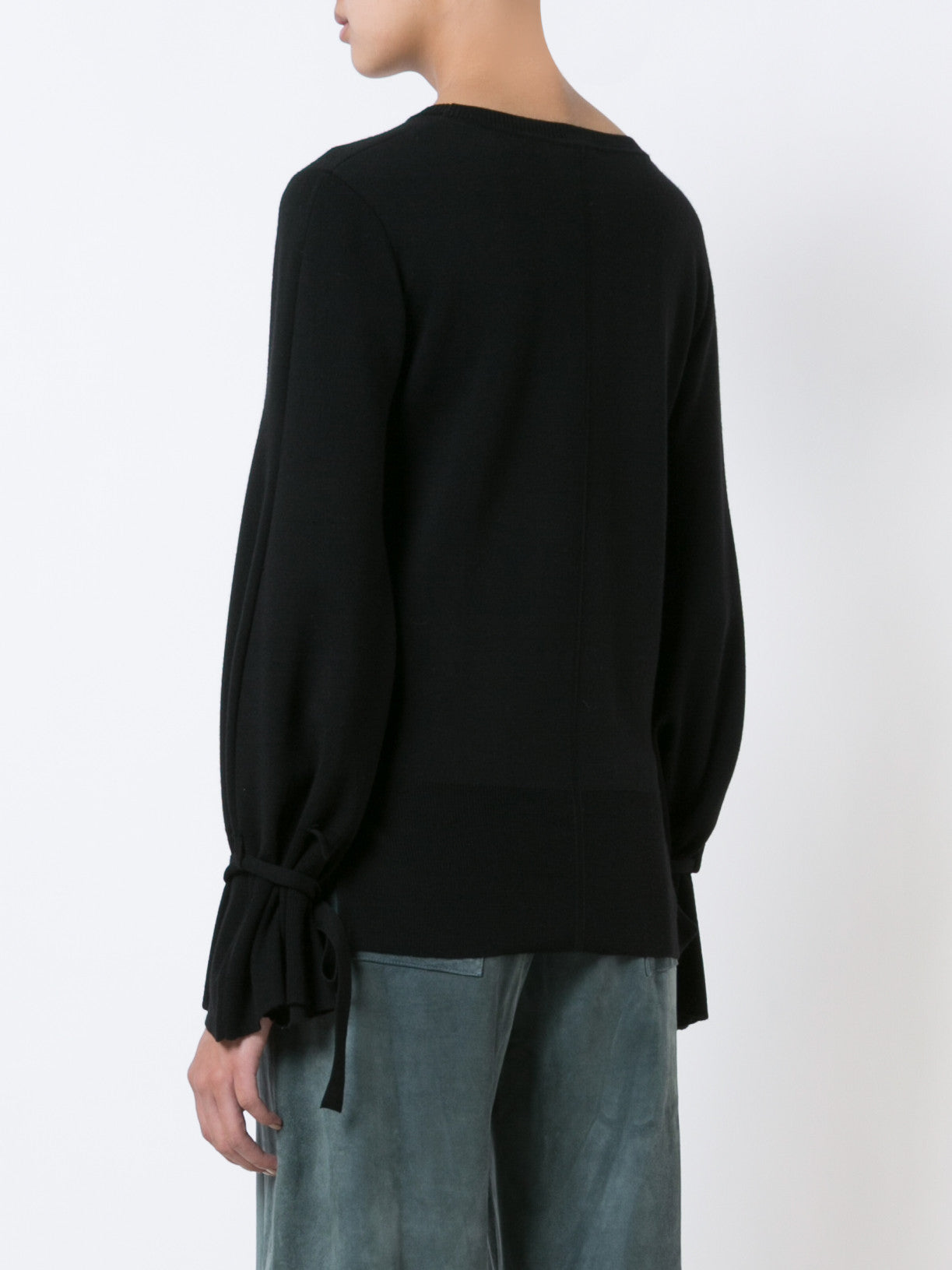 Merino Wool Crewneck Sweater with Bell Sleeve