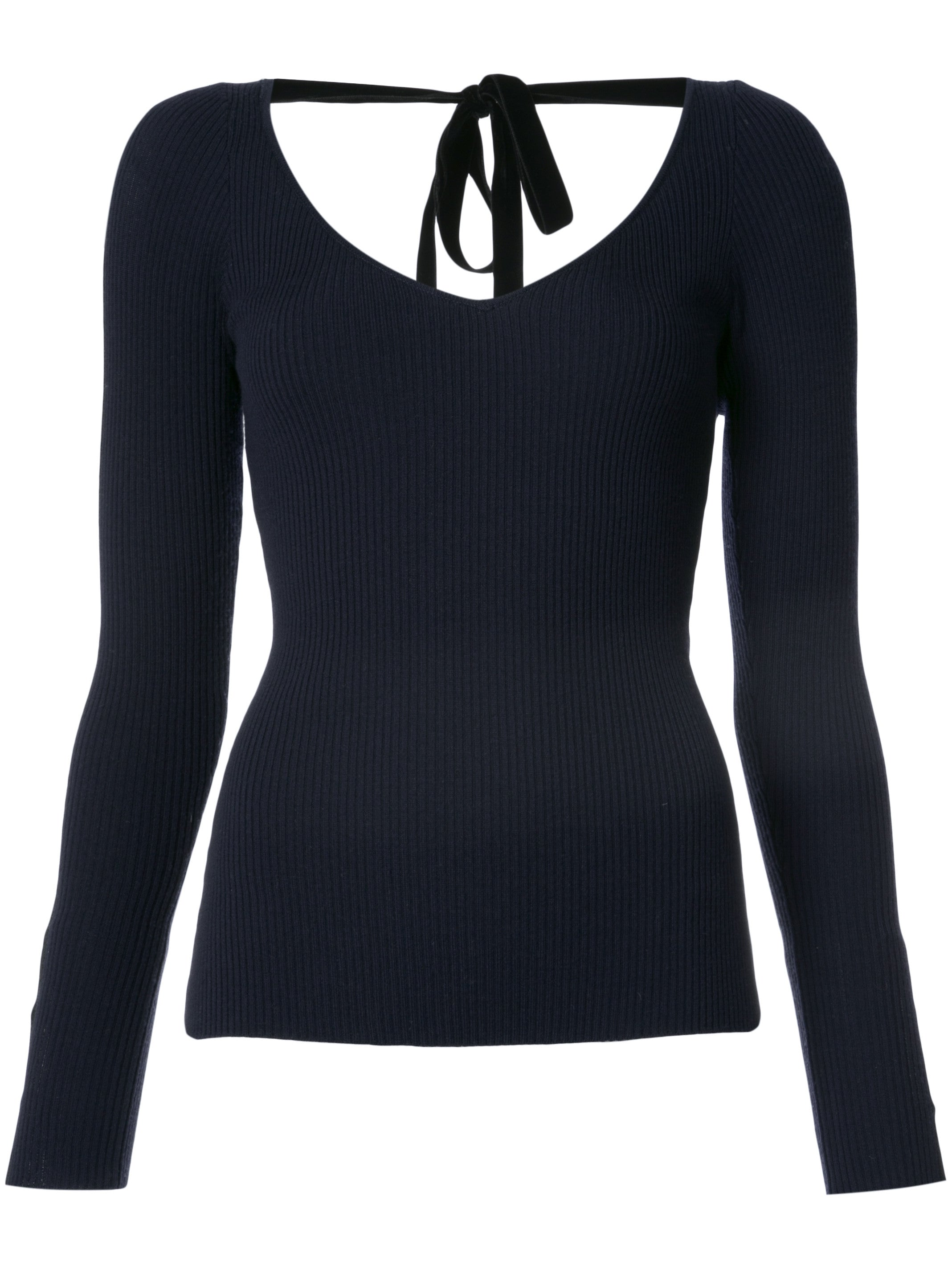 Light Weight Merino Wool Ribbed V-Neck Sweater with Ribbon Detail