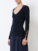 Merino Wool Ribbed V-Neck Sweater with Ribbon Detail