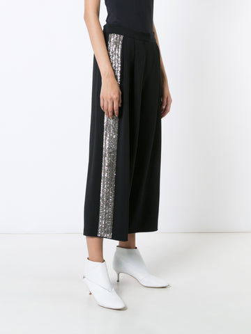 Stretch Cady Pleat Front Culotte with Embellished Sides