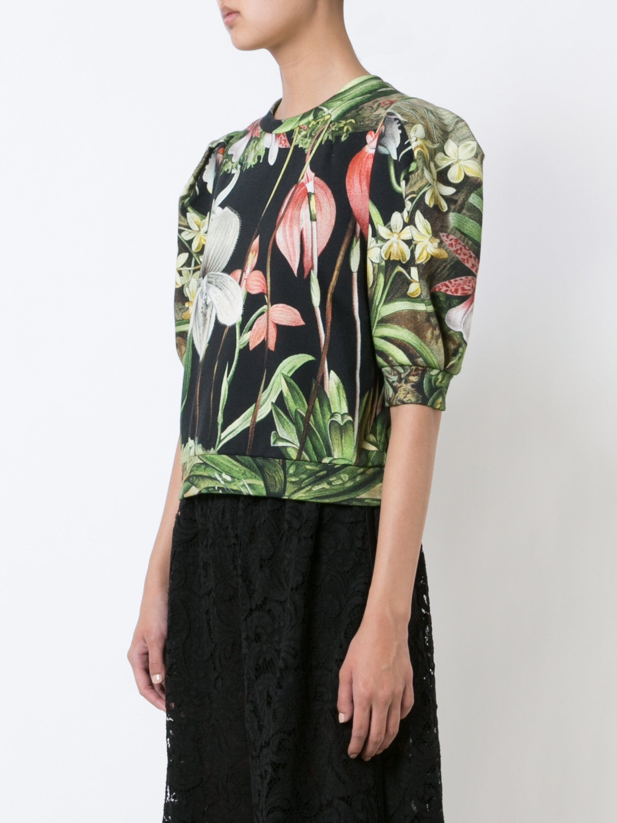 Orchid Printed Cotton Sweatshirt with Puff Sleeve