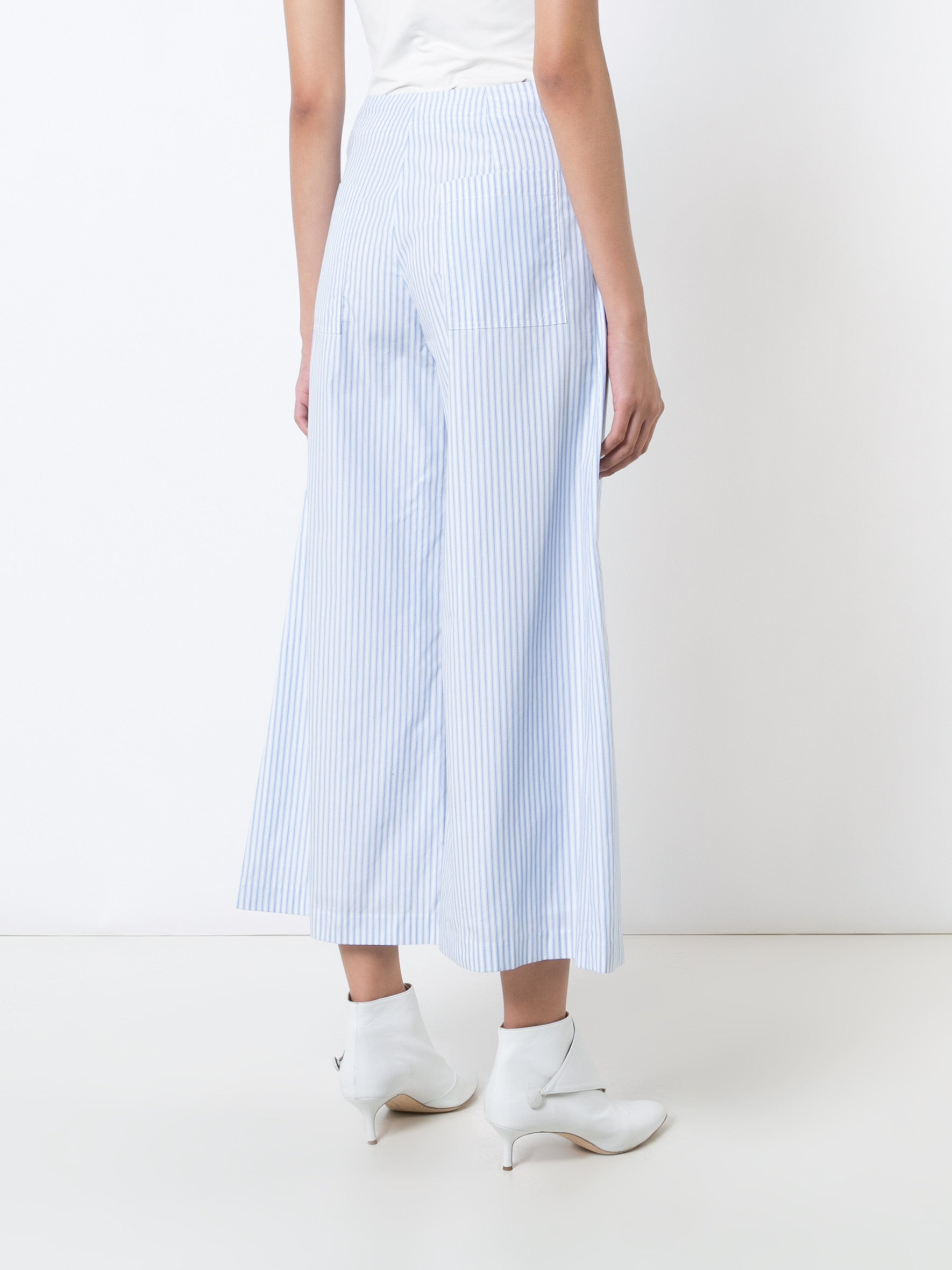 Cotton Stripe Cropped Patch Pocket Pant