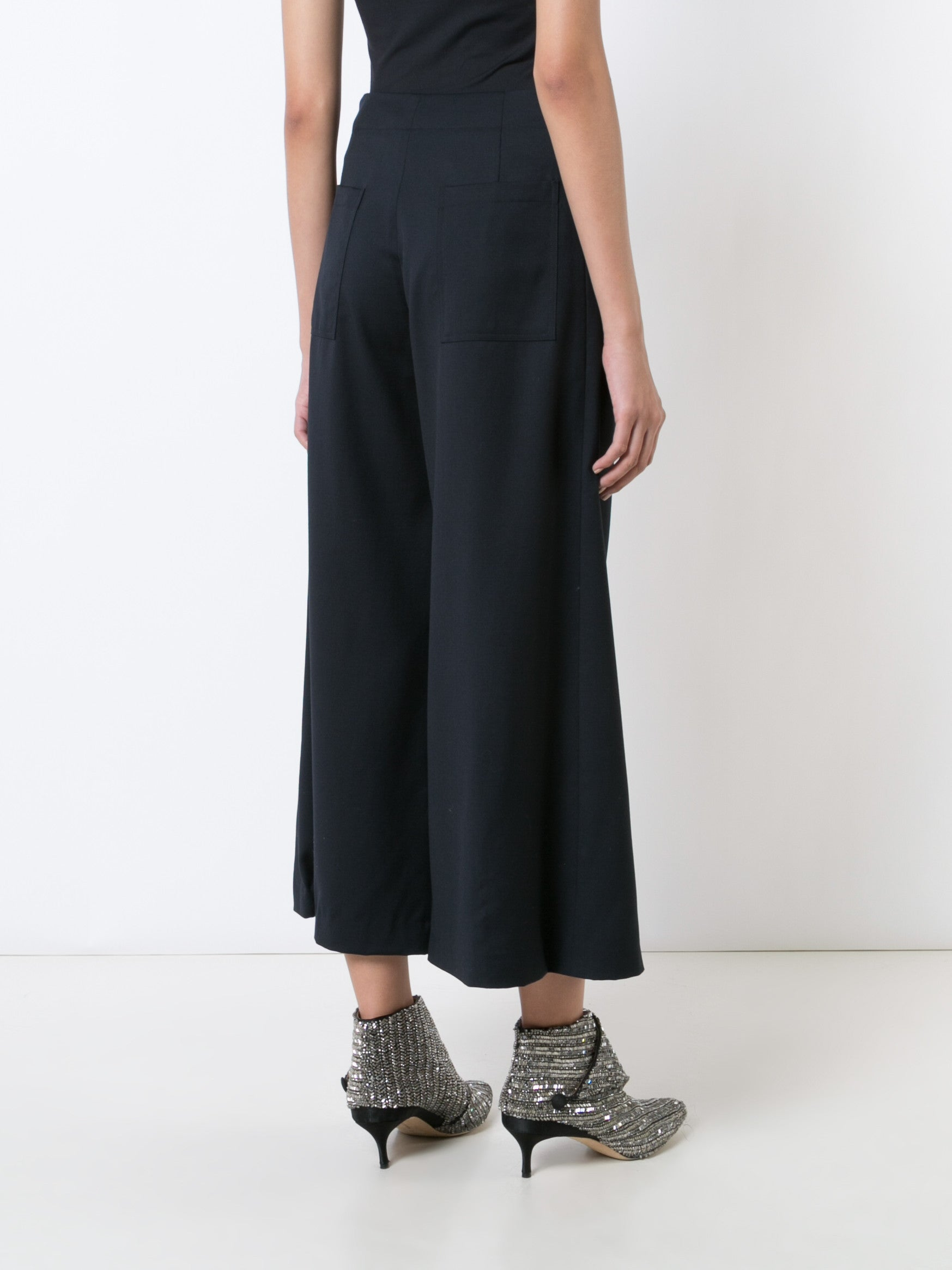 Tropical Wool Cropped Patch Pocket Pant