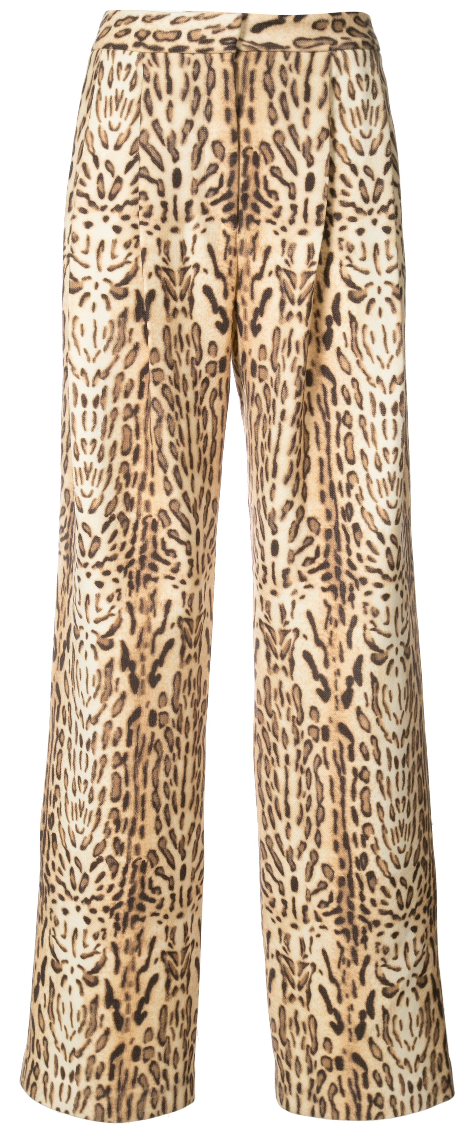 Ocelot Printed Wool Pleat Front Trouser