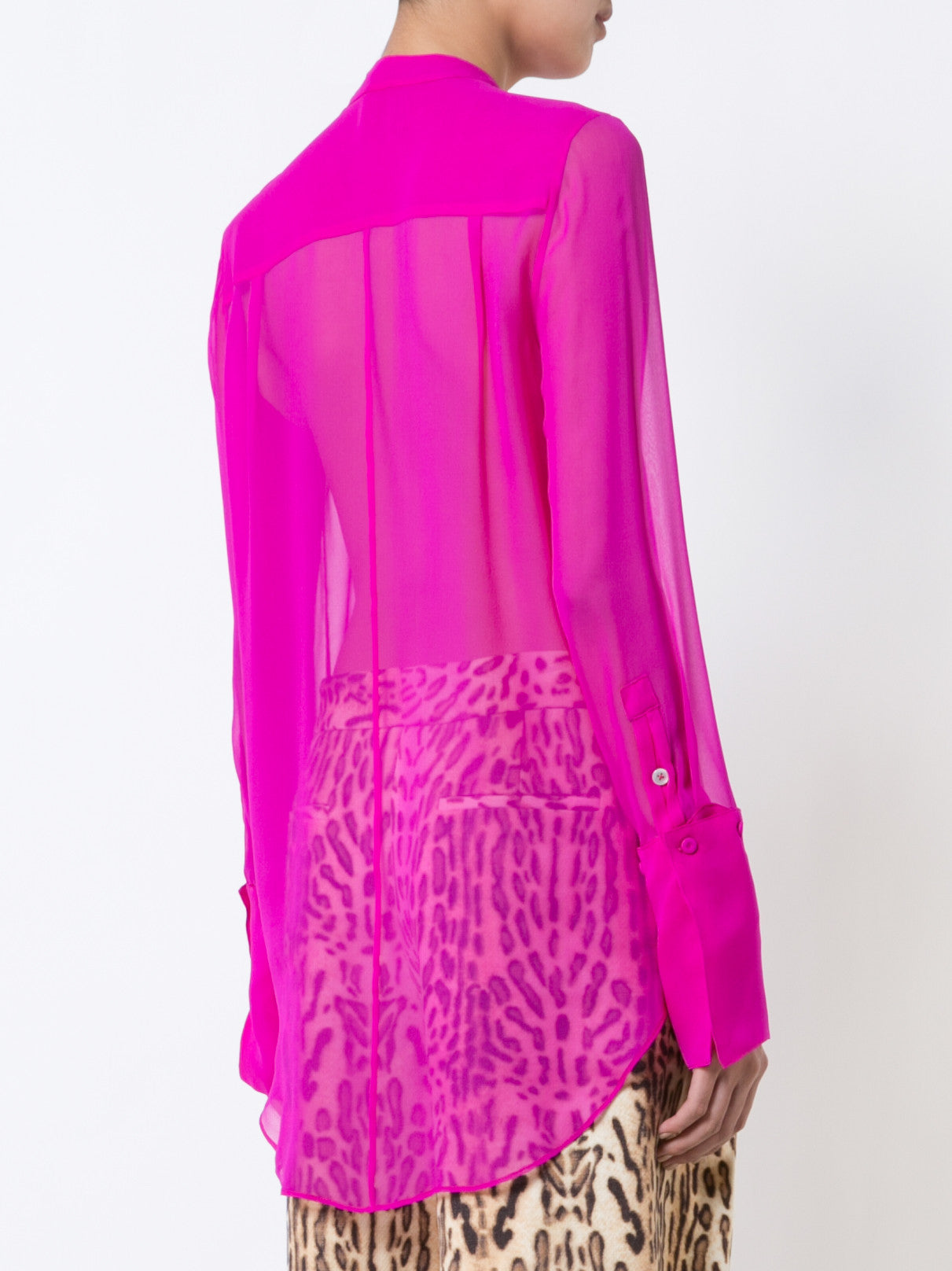 Silk Chiffon Blouse with Stand Collar