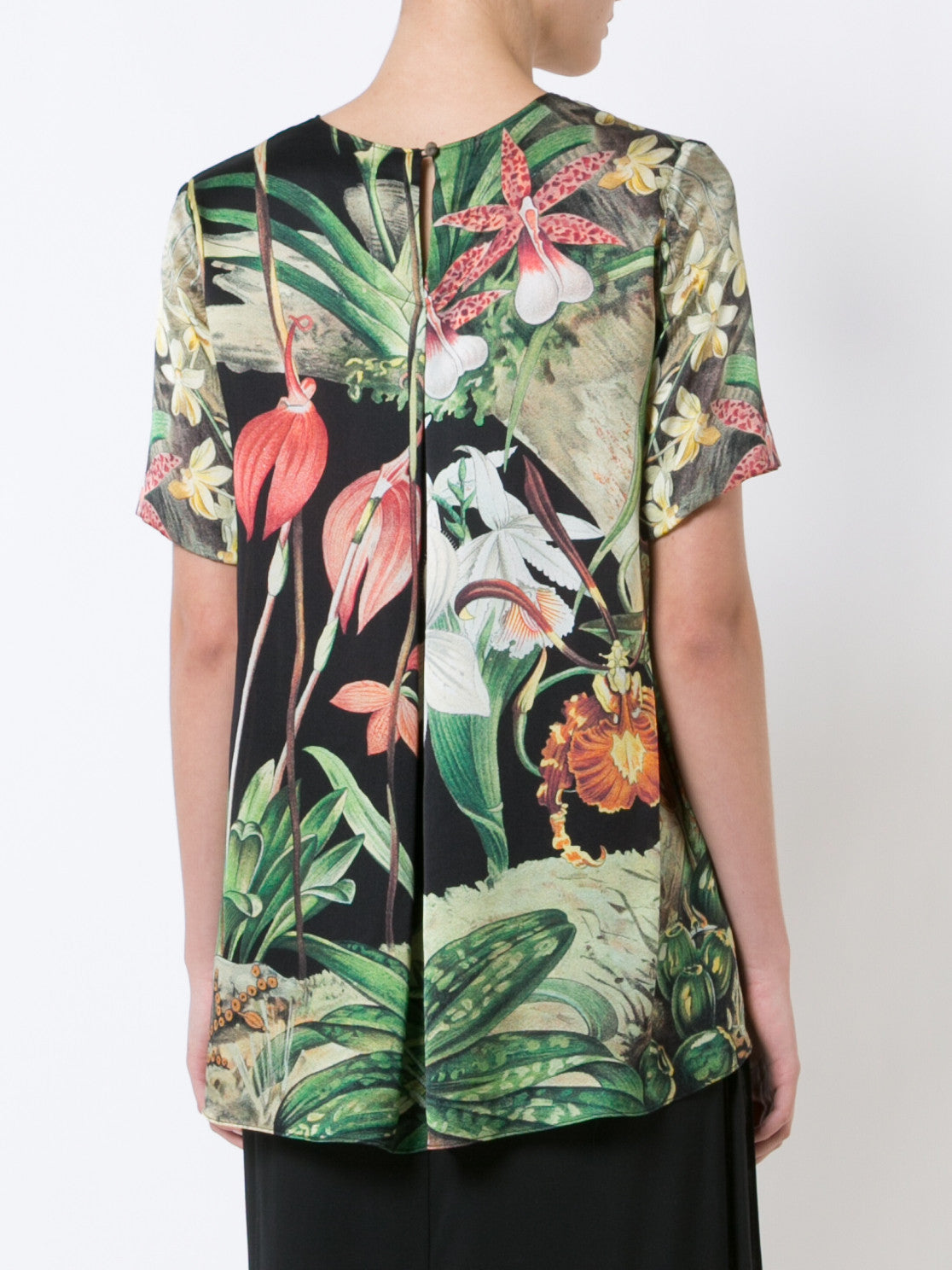Orchid Printed Silk T-Shirt