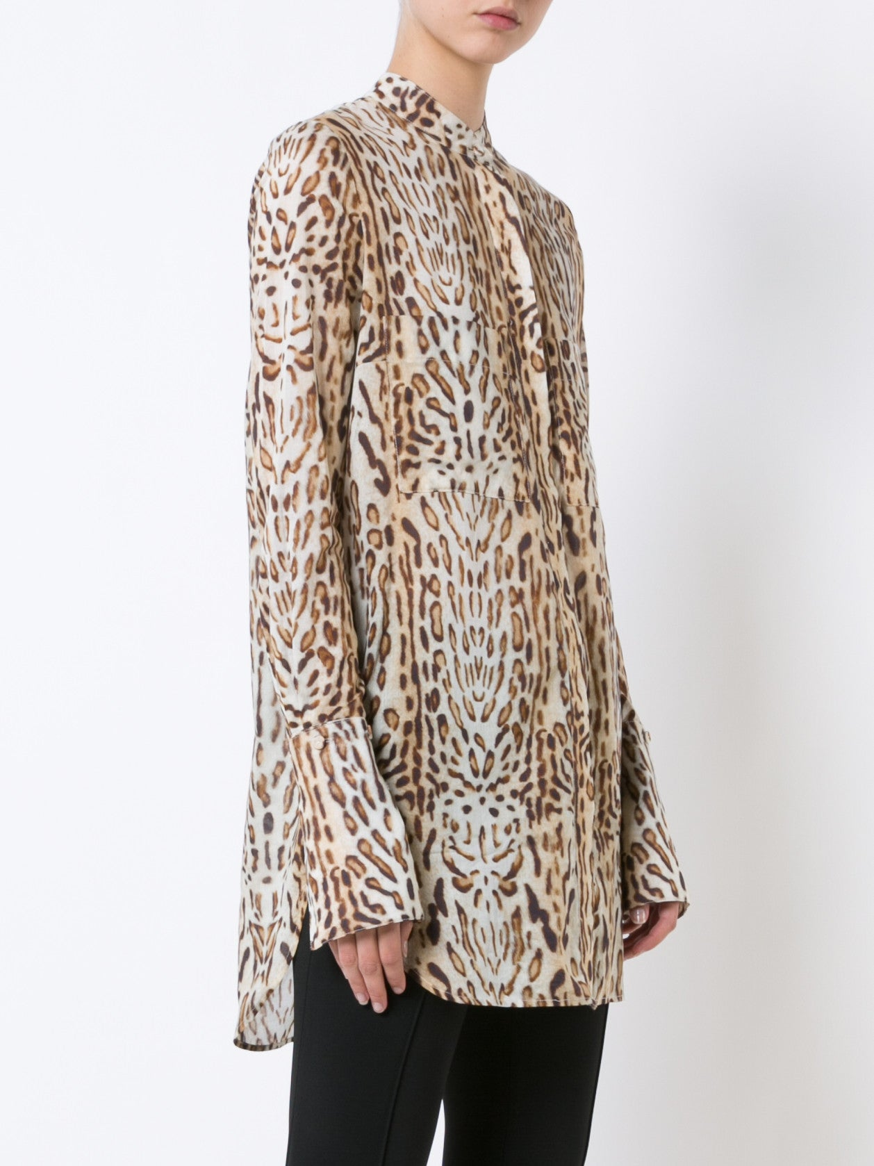 Ocelot Printed Cotton Voile Blouse with Stand Collar