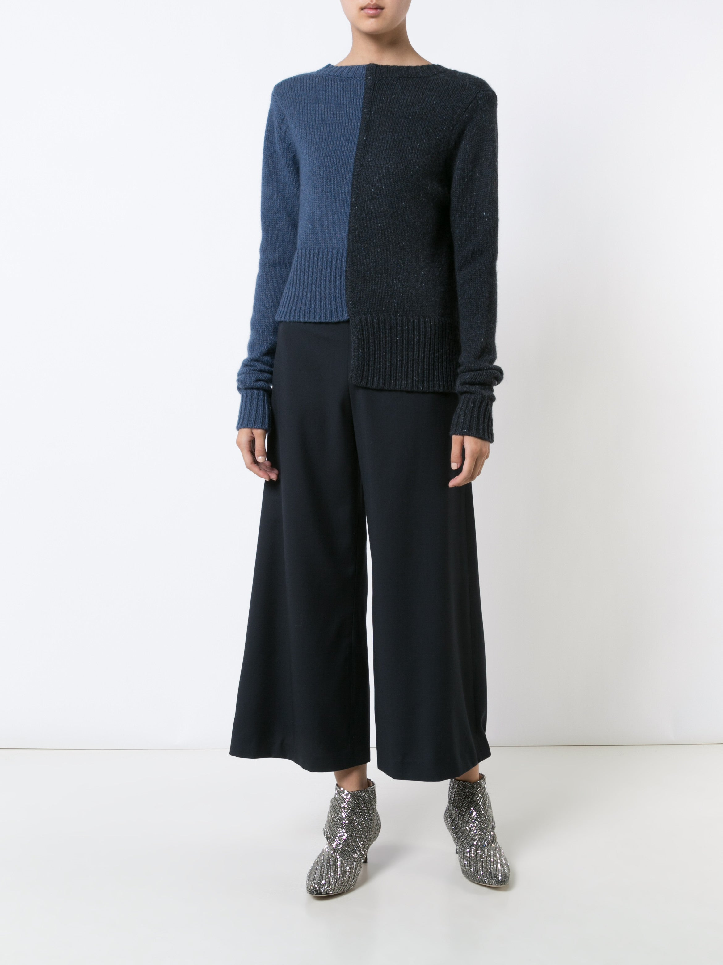 Wool Cashmere Offset Sweater