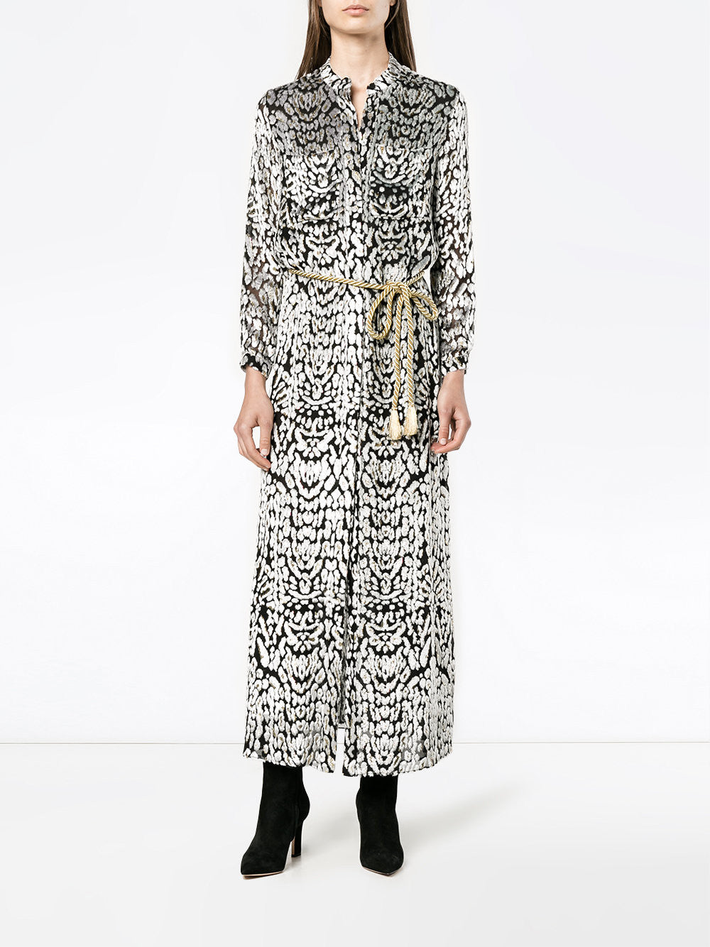 Ocelot Velvet Shirt Dress with Stand Collar