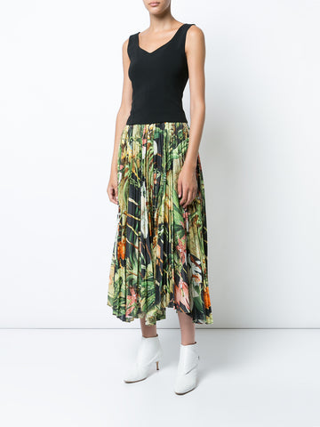 Orchid Printed Cotton Voile Pleated Midi Skirt