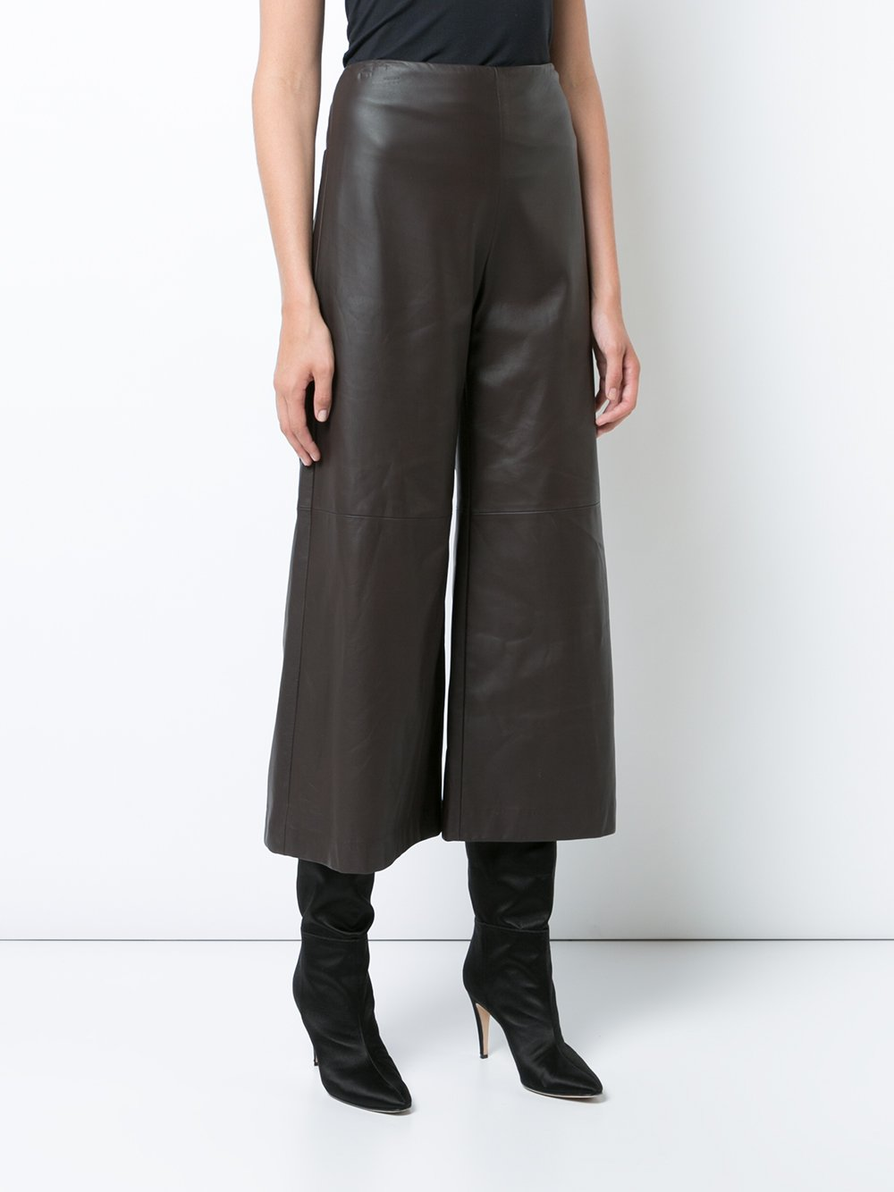 Leather Wide Leg Cropped Culotte