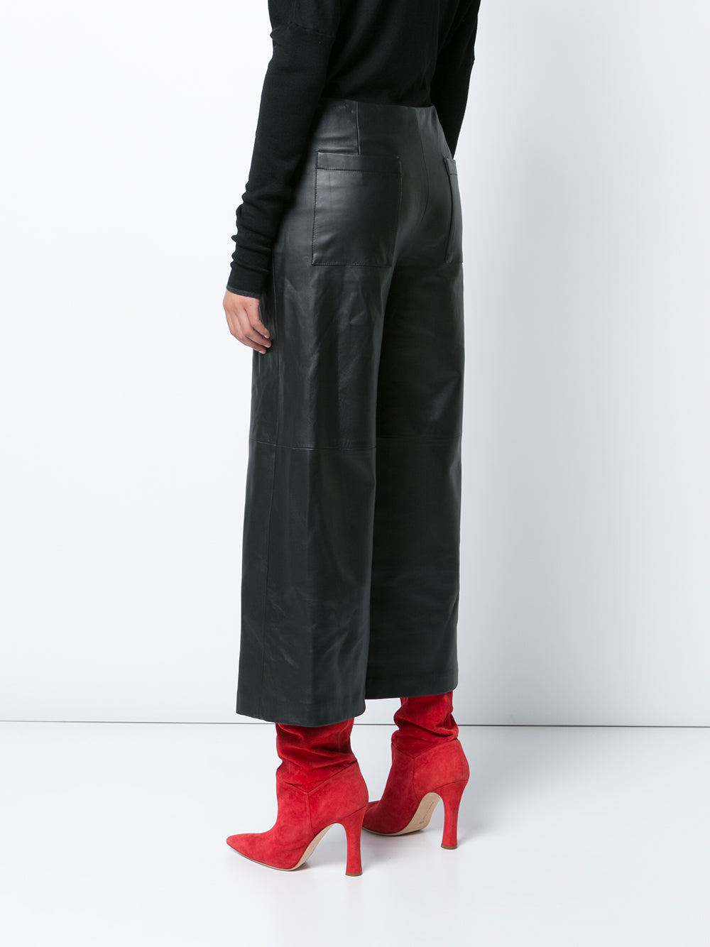 Leather Wide-Leg Cropped Culotte