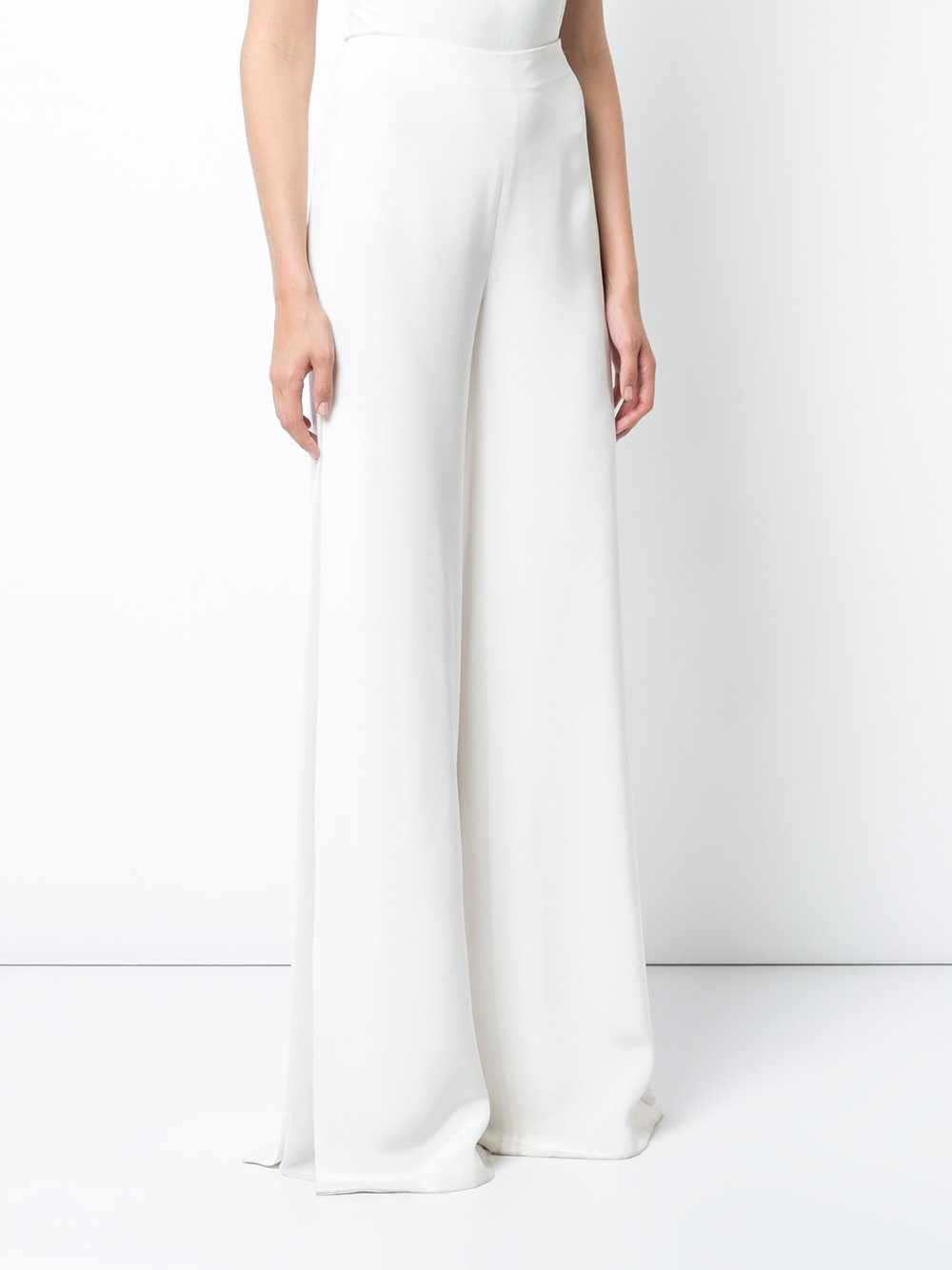 Satin Crepe Wide-Leg Pant with Sheer Inset