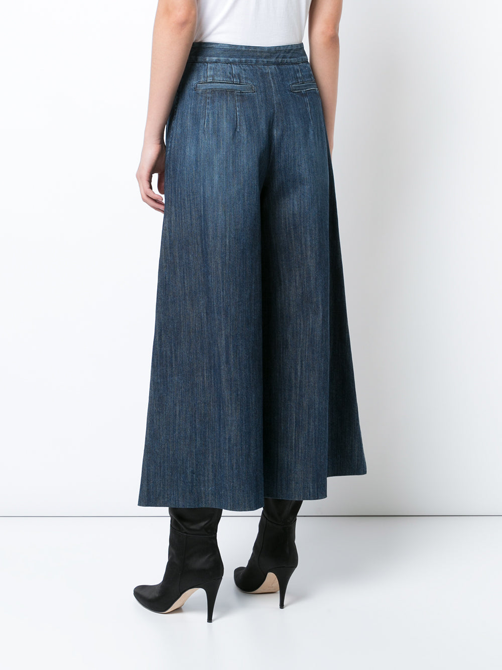 Stretch Denim Pleat-Front Culotte