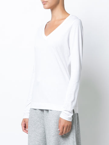 Pima Cotton Long Sleeve V-Neck T-shirt