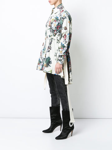 PRINTED POPLIN ANORAK WITH SIDE TIES