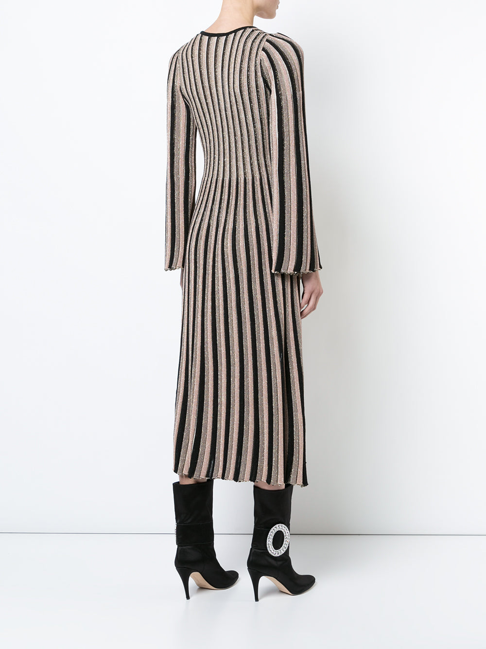 STRIPED LUREX V-NECK KNIT DRESS