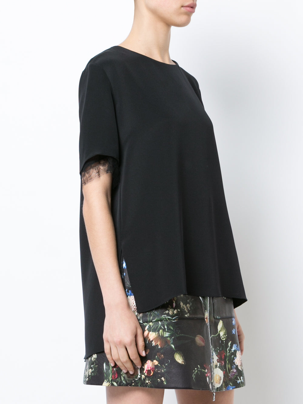 SILK CREPE T-SHIRT WITH LACE TRIM