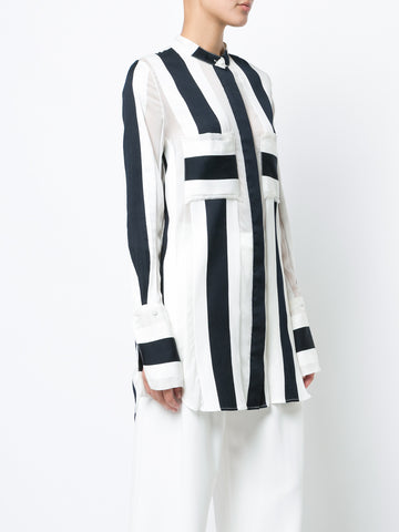 STRIPED JACQUARD BLOUSE WITH STAND COLLAR