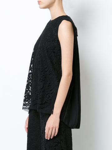 CORDED LACE SLEEVELESS SHELL WITH PLEAT BACK
