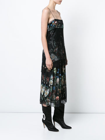 PRINTED SILK CAMISOLE WITH LACE
