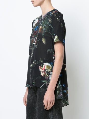 PRINTED SILK SHORT SLEEVE T-SHIRT