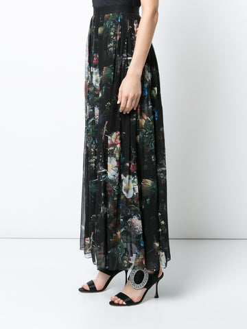 PRINTED CHIFFON PLEATED MIDI SKIRT