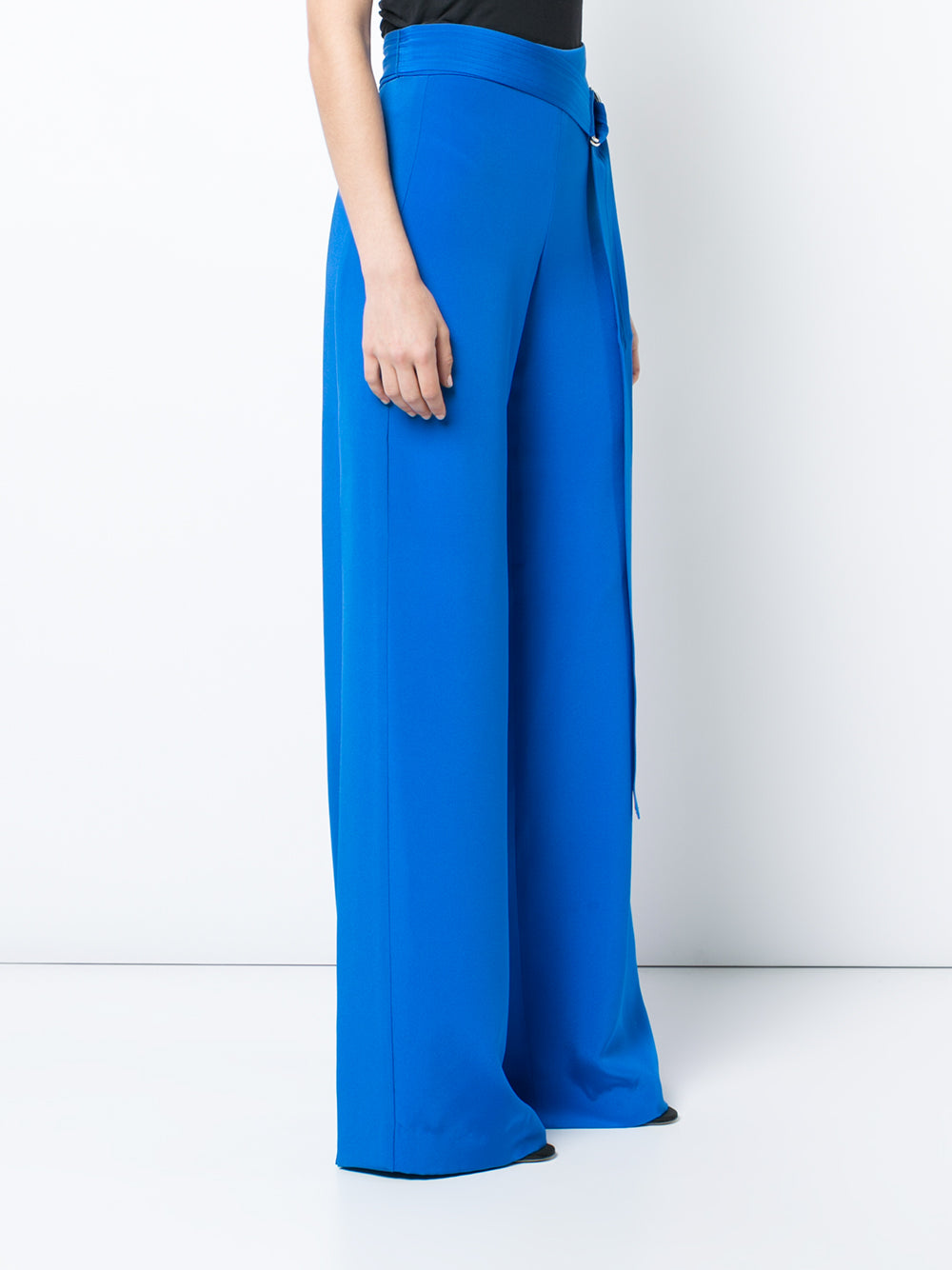 SILK CREPE WIDE LEG PANT WITH SIDE SLITS AND BELT