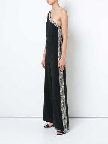 STRETCH CADY ONE-SHOULDER EMBROIDERED JUMPSUIT