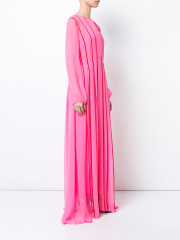 CHIFFON LONG SLEEVE GOWN WITH CONTRAST PIPING