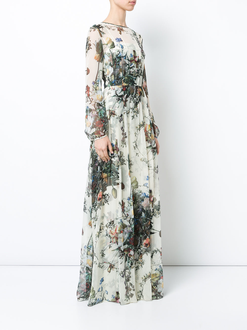 PRINTED CHIFFON LONG SLEEVE GOWN