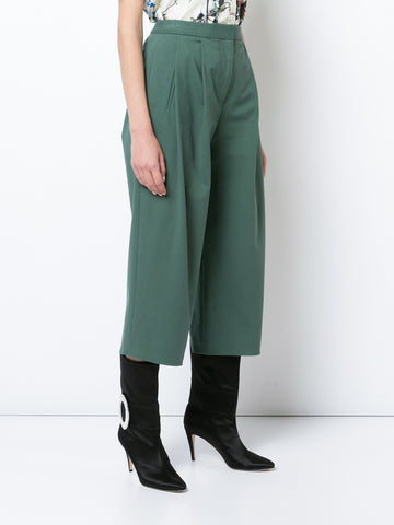 STRETCH COTTON PLEAT FRONT CULOTTE