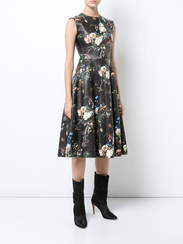 PRINTED LEATHER SLEEVELESS SCULPTED DRESS