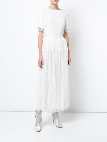 CHANTILLY LACE PLEATED MIDI SKIRT