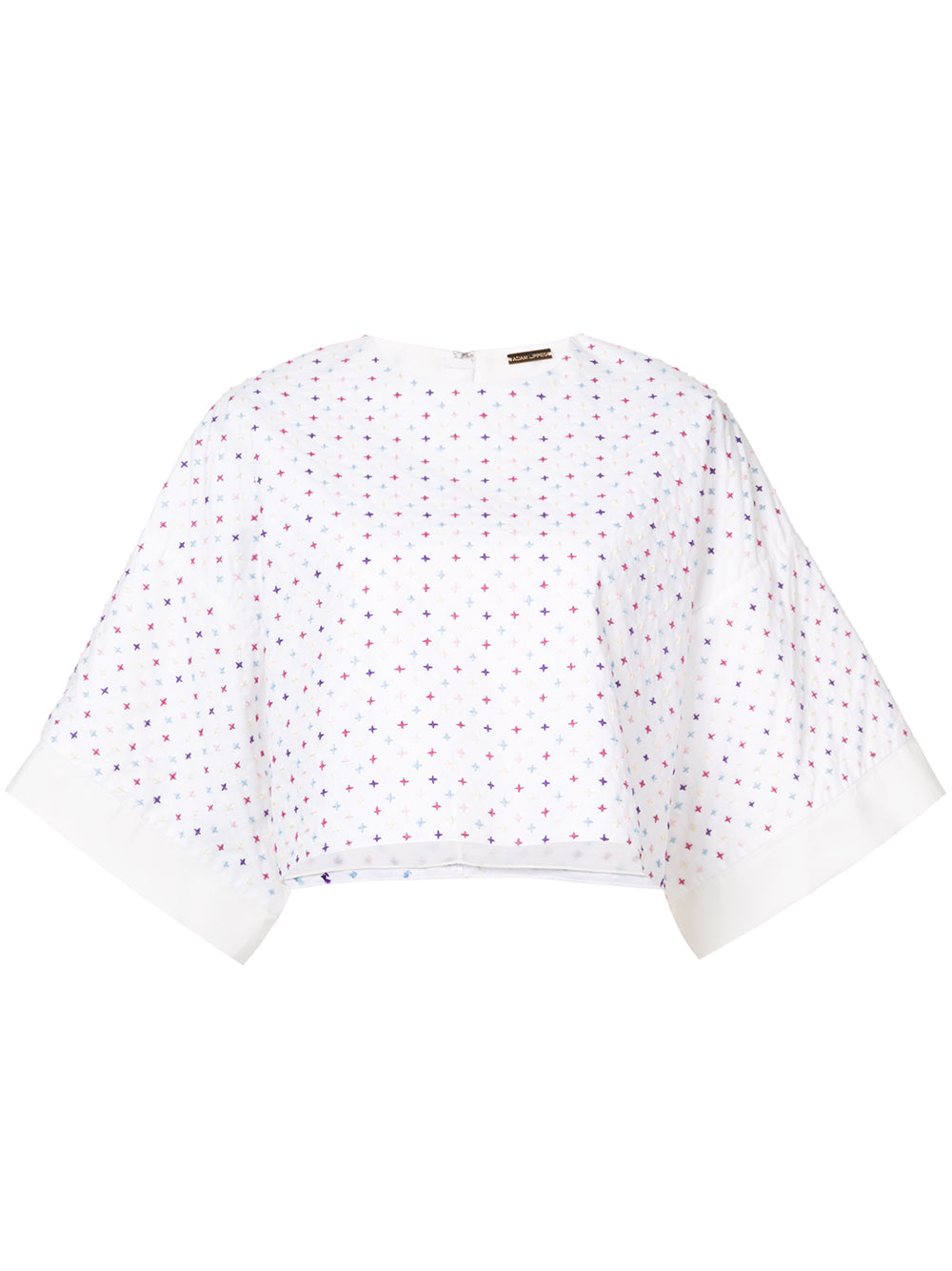 COTTON POPLIN CROPPED T-SHIRT WITH SASHIKO EMBROIDERY