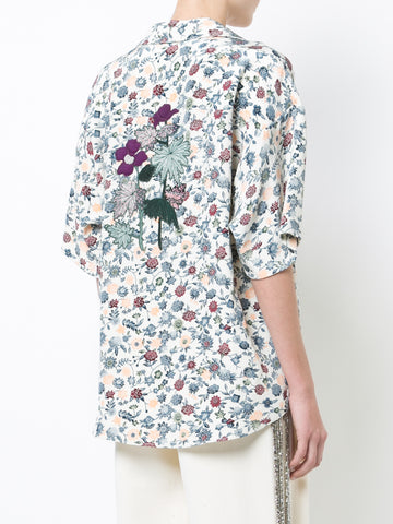 FLORAL CREPE BOWLING SHIRT WITH APPLIQUE