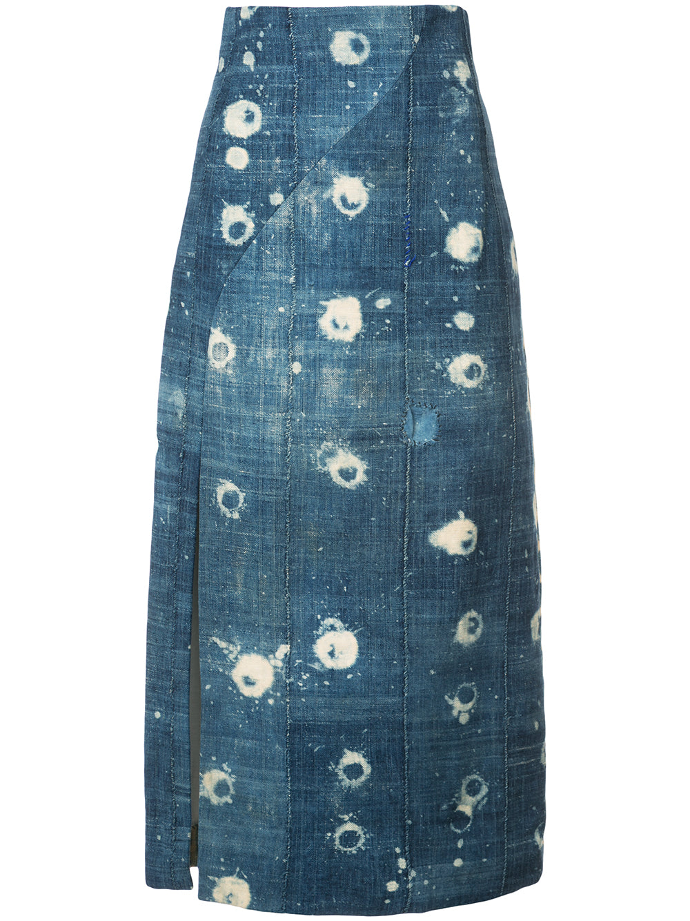 VINTAGE CHAMBRAY HIGH WAISTED PENCIL SKIRT WITH SLIT  -  PRE-ORDER
