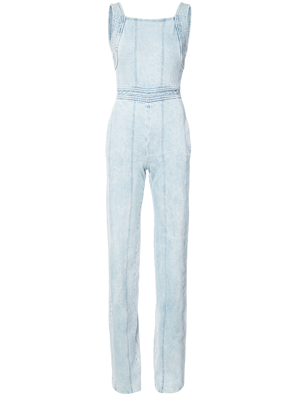 CORDED DENIM FITTED OVERALL JUMPSUIT