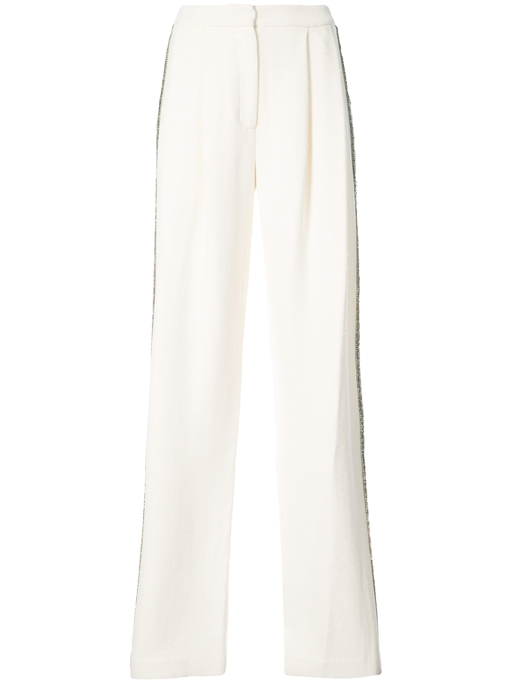 COTTON CREPE PLEAT FRONT TROUSER WITH CRYSTAL EMBROIDERY  - PRE-ORDER