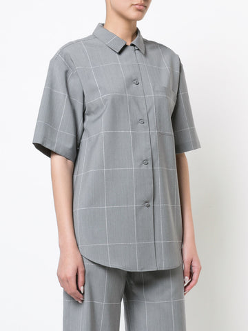 WINDOWPANE WOOL BOWLING SHIRT
