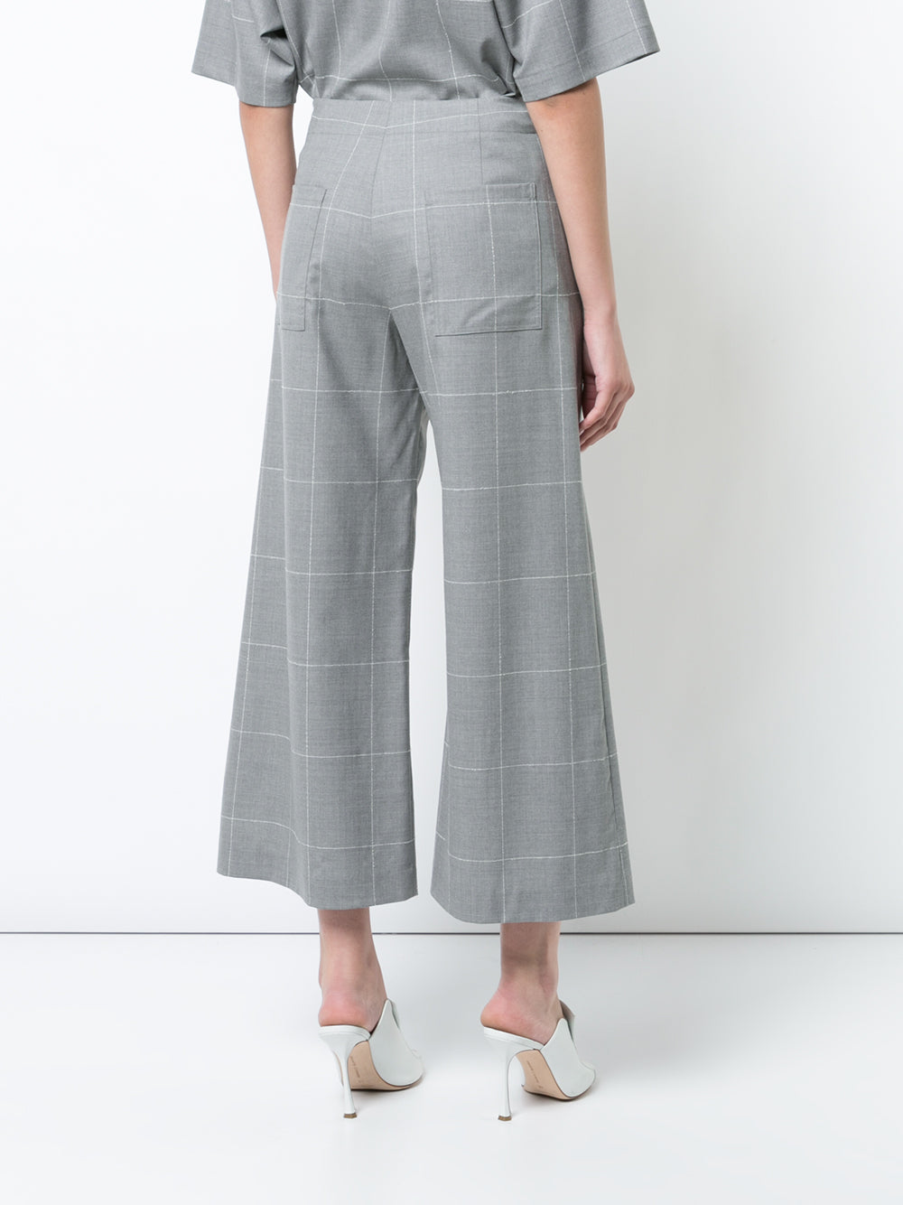 WINDOWPANE WOOL FLAT FRONT CULOTTE