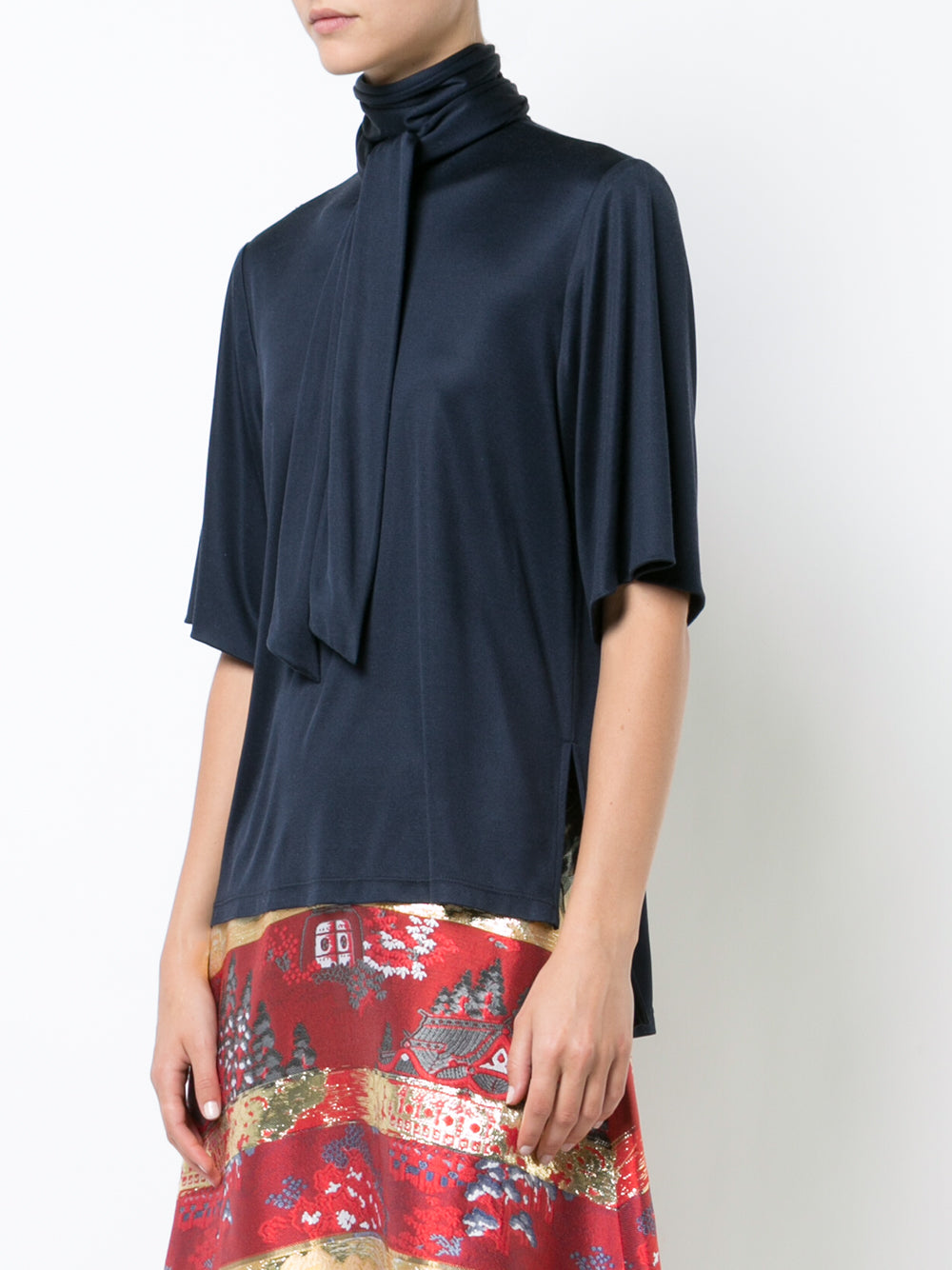 SILK JERSEY BLOUSE WITH SCARF