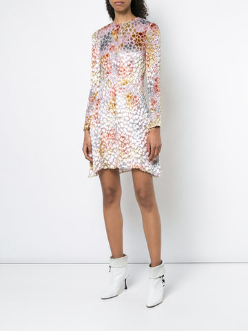 PRINTED CHIFFON TIE-NECK MINI DRESS