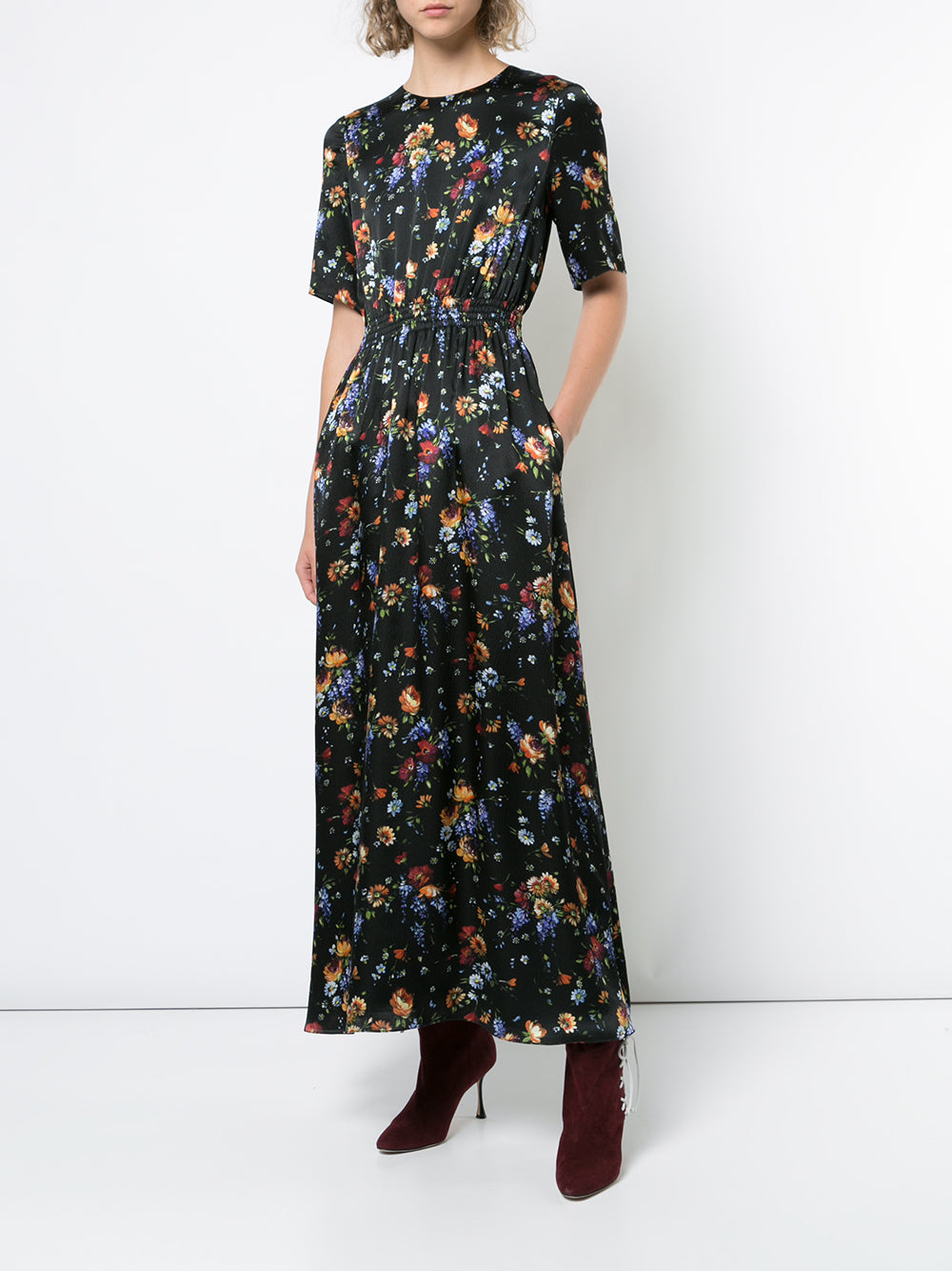 FLORAL HAMMERED SILK MAXI DRESS WITH SMOCKED WAIST