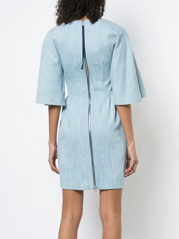 CORDED DENIM MINI DRESS WITH FLUTTER SLEEVE