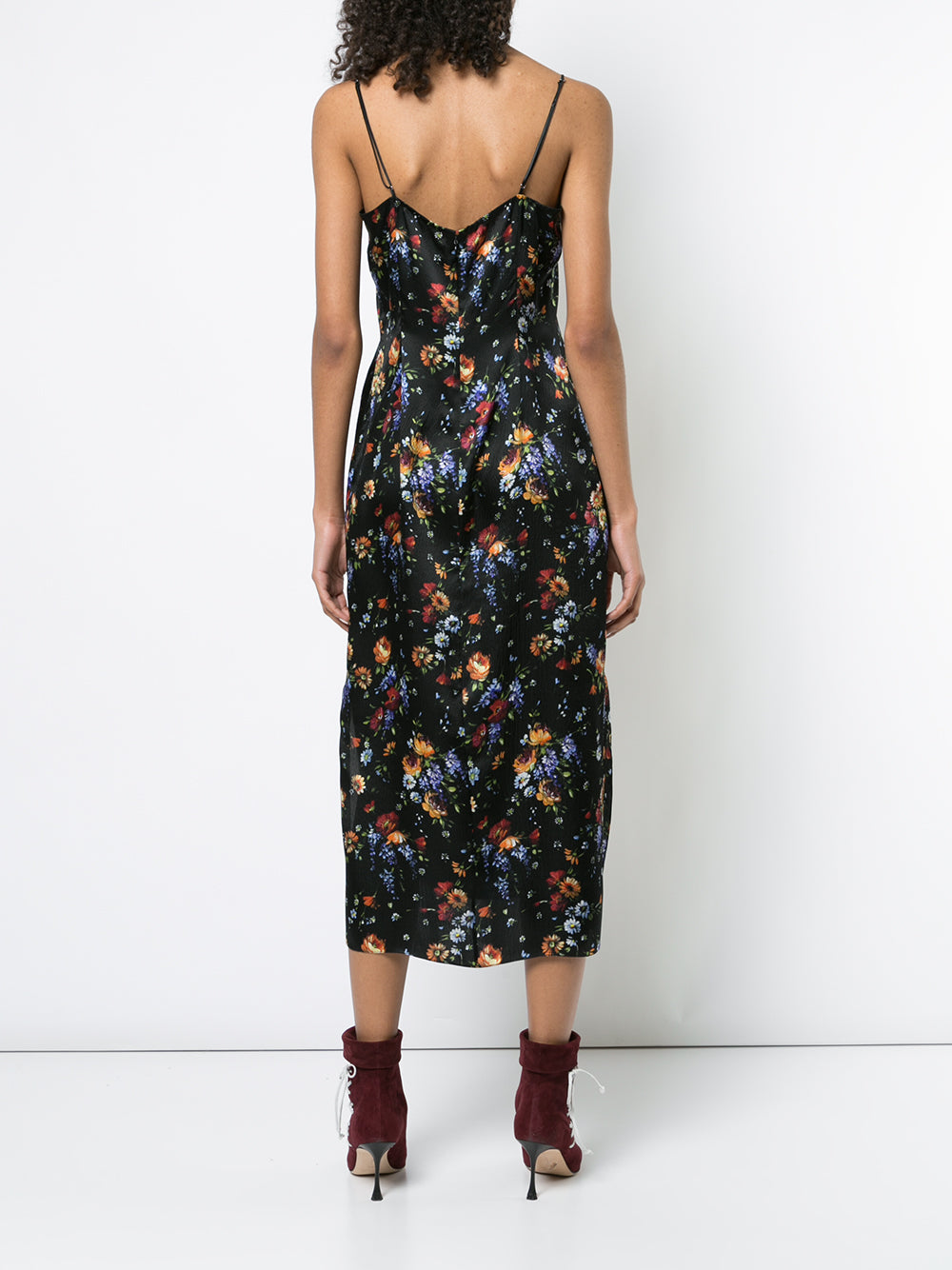 FLORAL HAMMERED SILK CAMISOLE DRESS